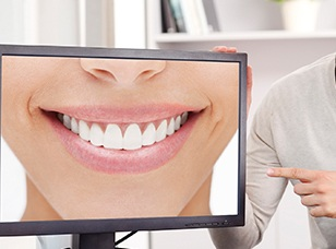 Patients smile on computer